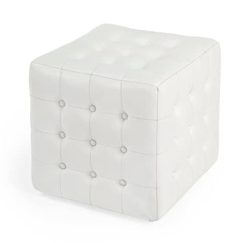 Offex Leon Home Decorative Square Button Tufted White Leather Ottoman