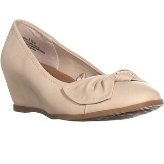 BareTraps Lexia Bow Tie Wedge Pumps, Natural - 5.5 us