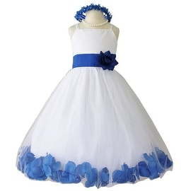Flower Girl Dresses Rose Petal Wallao White (Baby - 14) Blue Royal