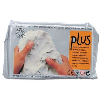 Plus Clay Air-Dry Non-Toxic Self-Hardening Natural Clay, White, 2.2 Pounds