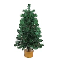 3' Pre-Lit Color Changing Fiber Optic Artificial Christmas Tree - green
