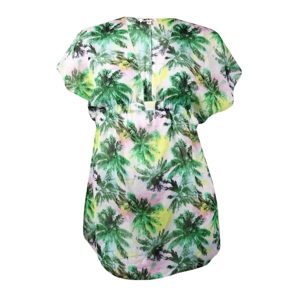 Miken Women's Tropical Palm V-Neck Chiffon Swim Cover (M, White/Jungle Green) - white/jungle green - M
