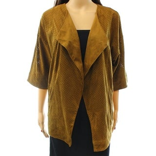Alfani NEW Brown Women's Size Small S Perforated Faux-Suede Jacket