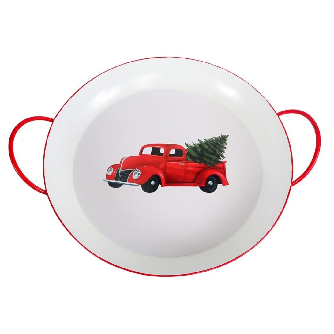 Red Truck With Holiday Tree Round Painted Metal Serving Tray 13 5 Inches Overstock 23601303
