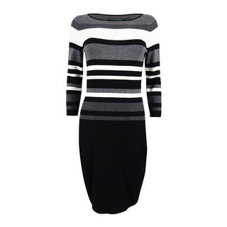Lauren Ralph Lauren Women's Petite Striped Stretch Dress - black/grey/light white