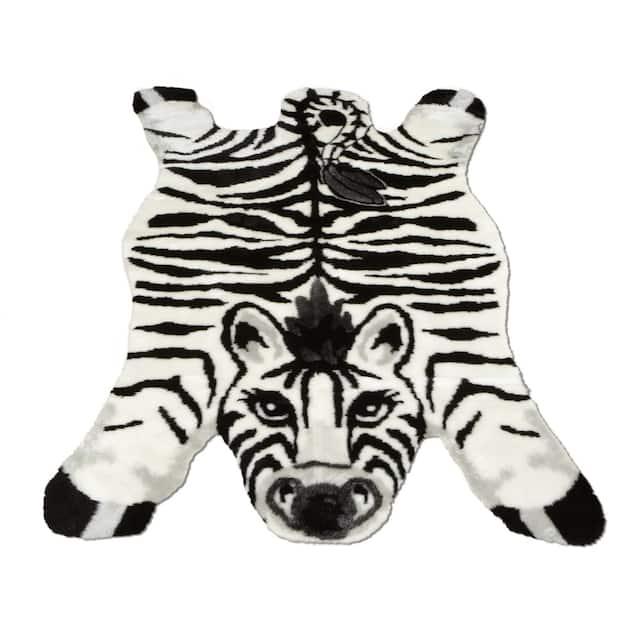"Walk on Me Kids Playmat Animal Faux Fur/ Faux Sheepskin Machine Washable Area Rug - 4'7"" x 6'7"" - Zebra"