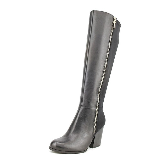 Bar III Womens Pedra Leather Round Toe Knee High Fashion Boots