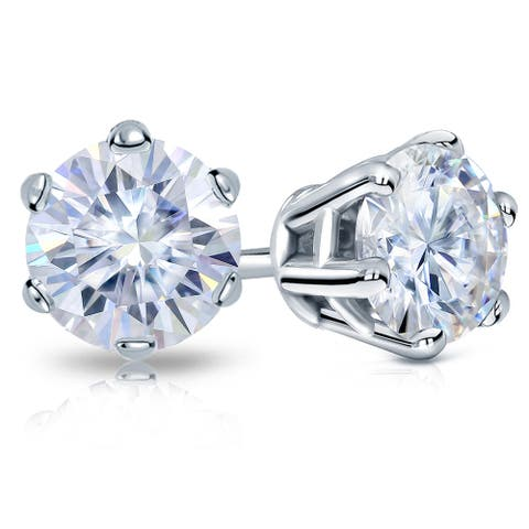Auriya 1ctw Round Moissanite Stud Earrings 18k Gold - 5 mm, Push-Backs