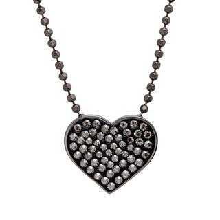 Crystaluxe Heart Pendant with Swarovski Crystals in Sterling Silver - Champagne