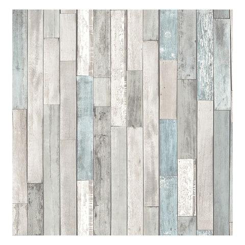 Barn Board Grey Thin Plank Wallpaper - 20.5 x 396 x 0.025