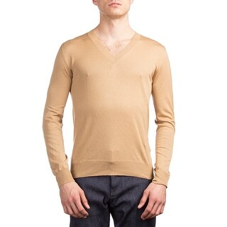 Prada Men's Silk Cotton V-Neck Sweater Brown