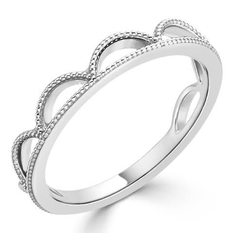 Auriya Vintage Milgrain Tiara-Crown Stackable 10k Gold Ring