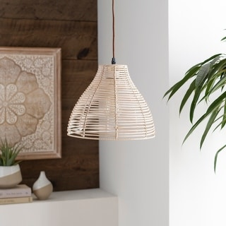"Minna Boho Rattan Basket 1-light Pendant - 14"" x 6.5"" x 6.5"""