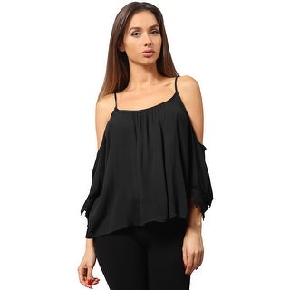 NE PEOPLE Women's Spaghetti Strapped Open Shoulder Draped Sleeve Top [NEWT723]