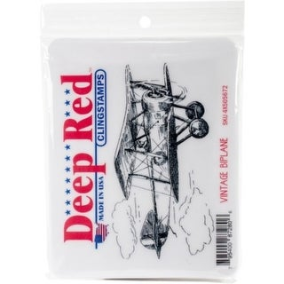 Deep Red Stamps Vintage Biplane Rubber Cling Stamp - 4.1 x 2
