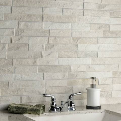 "SomerTile Ordino White 3.25"" x 17.5"" Porcelain Wall Subway Tile"