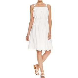 Trovata Womens Sundress Tie Shoulder Crochet Trim