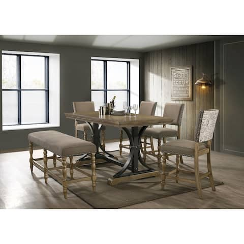 Birmingham 6-piece Driftwood Finish Table with Nail Head Chairs Counter Height Dining Set