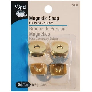 "Square Magnetic Snaps 3/4"" 2/Pkg-Gilt"