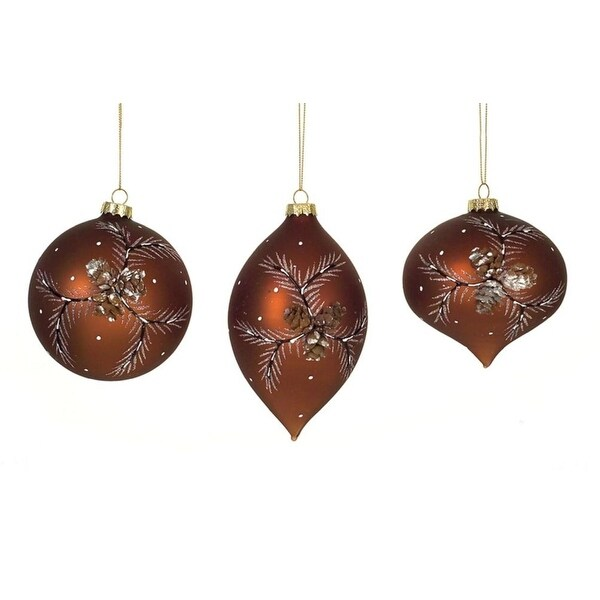 "(PACK OF 12) Pinecone Ornament (3 Asst) 4""-5""H Glass"