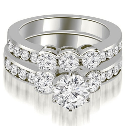 3.00 cttw. 14K White Gold Bezel Set Round Cut Diamond Engagement Set