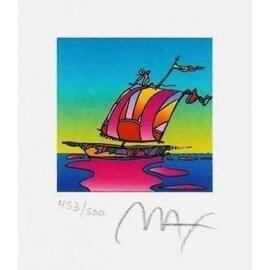 "Cosmic Sailboat, Ltd Ed Lithograph (Mini 3.5"" x 3""), Peter Max"