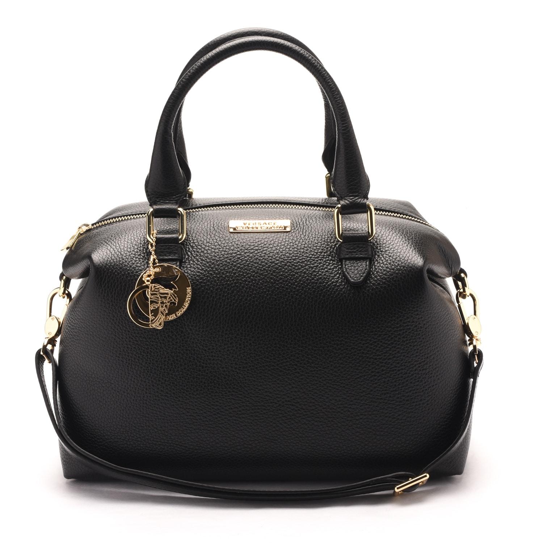 Versace Collections Women Pebbled Leather Top Handle Shoulder Handbag Satchel Black - M - Thumbnail 0
