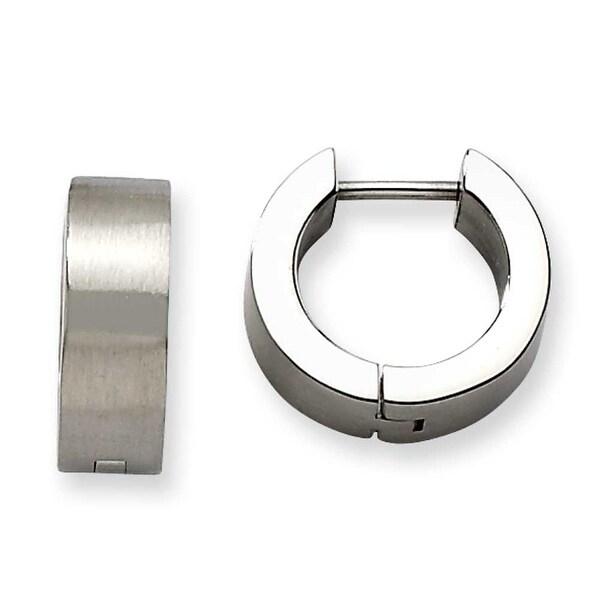 Chisel Stainless Steel Satin Round Hinged Hoop Earings