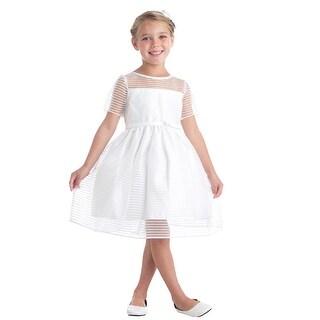 Sweet Kids Girls Off-White Stripe Organza Junior Bridesmaid Dress