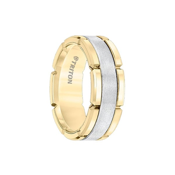 AMARILLO White Tungsten Carbide Flat Comfort Fit Band with Brush Center and Gold Plated Edges by Triton Rings - 8mm