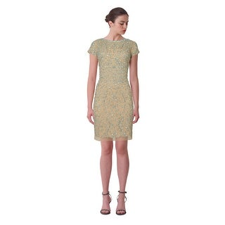 Aidan Mattox Bead Embellished Short Sleeve Illusion Cocktail Eve Dress