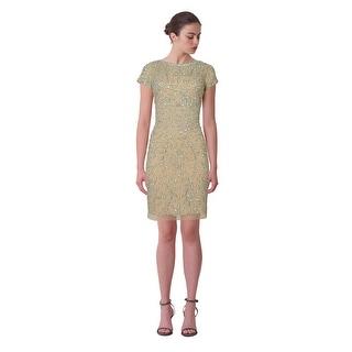 Aidan Mattox Bead Embellished Short Sleeve Illusion Cocktail Eve Dress - 10