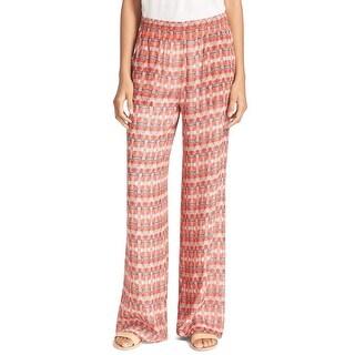 Joie NEW Red Women's Size Medium M Isabeli Geo-Print Pants Silk