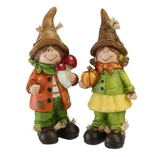 """Set of 2 Boy and Girl Scarecrow Kids Decorative Table Top Figurines 7.75"""" - N/A"""