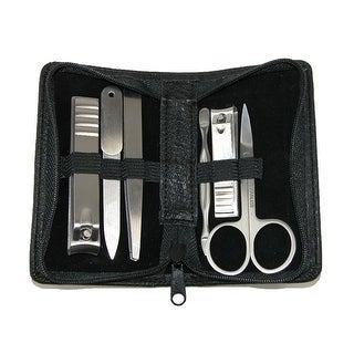 Buxton Men's Faux Leather 6 Piece Travel Manicure Set - Black