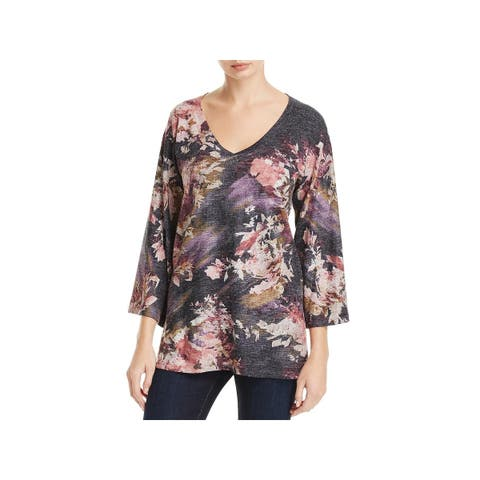 Nally & Millie Womens Tunic Sweater Floral Print V-Necl