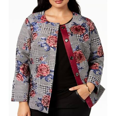 Alfani Womens Topper Jacket Black 1X Plus Glen Plaid Floral Jacquard
