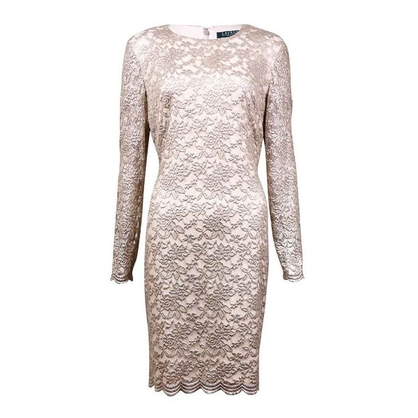7a5d4312 Lauren Ralph Lauren Women's Scalloped Metallic Lace Dress - Silver Foil - 10