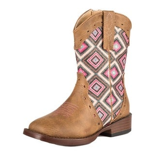 Roper Western Boots Girls Glitter Geo Faux Leather 09-017-1901-1524 TA