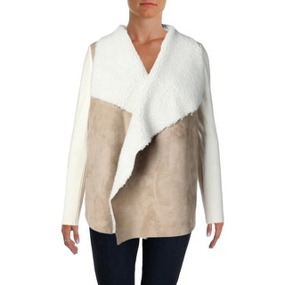 Design History Womens Cozy Wool Blend Faux Suede Cardigan Sweater