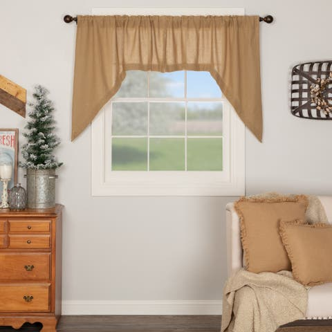 Farmhouse Kitchen Curtains VHC Cotton Burlap Natural Swag Pair Rod Pocket Solid Color - Swag 36x36x16 - Swag 36x36x16