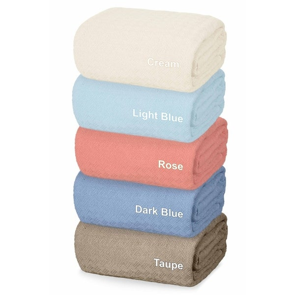 All Season Durable Soft Yarns Thermal Weave Design Cotton Blanket In Queen And King Size