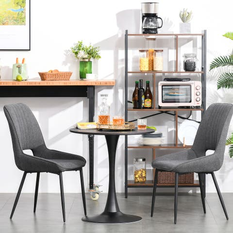 HOMCOM Modern Round Dining Table with Spacious Tabletop and Metal Base for Kitchen or Dining Room, Faux Black Marble