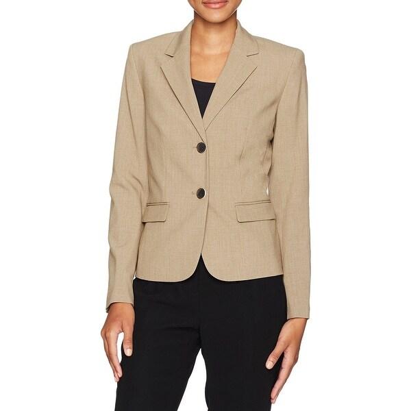 Nine West Brown Women Size 2 Button Notch Collar Bi Stretch Jacket