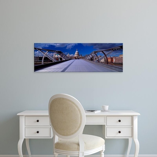 Easy Art Prints Panoramic Image 'Railings, Millennium Bridge, St. Paul's Cathedral, London, England' Canvas Art