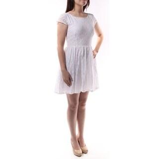B DARLIN $110 1452 White Floral Zippered Fit + Flare Dress Juniors 5 B+B