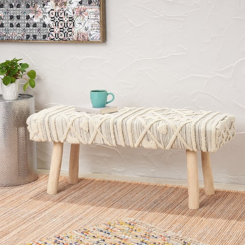 Laveta Handmade Boho Wool and Cotton Bench by Christopher Knight Home