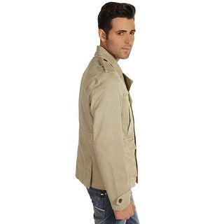 Color Siete Mens Buttoned Washed Peacoat in Khaky