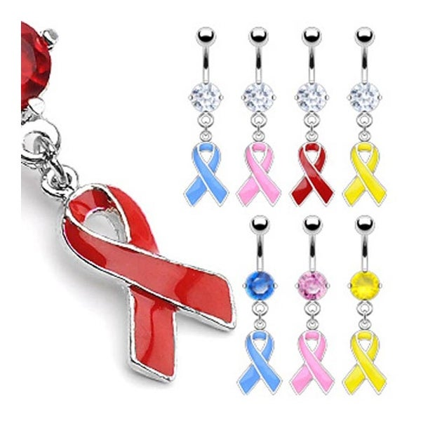 """Surgical Steel with Prong set CZ Navel Belly Button Ring with """"Awareness Ribbons"""" Dangle (Sold Ind.)"""