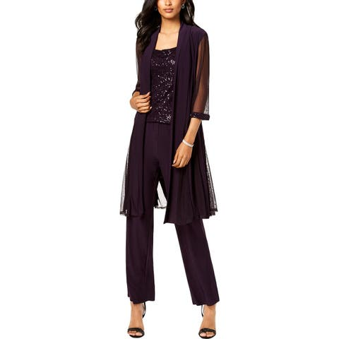 R&M Richards Womens Pant Outfit 3PC Sequined - 14